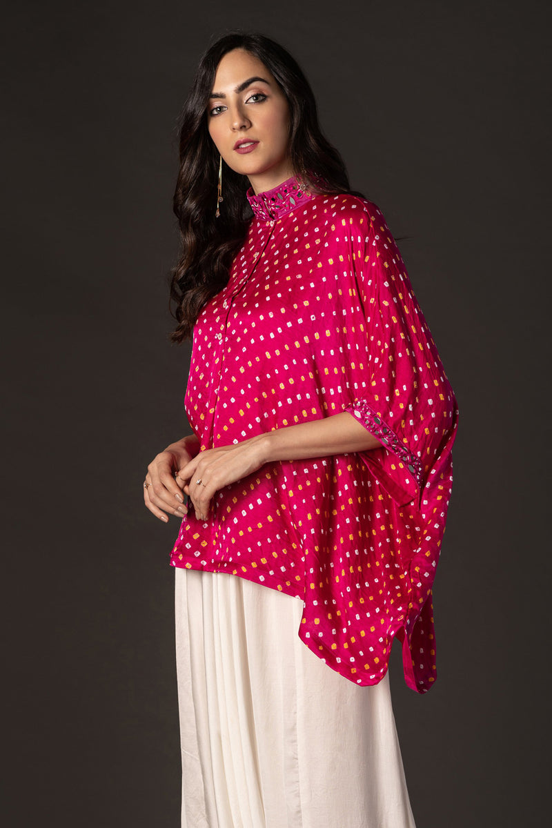 Bandhani Oversize Shirt with bead & Mirrorwork
