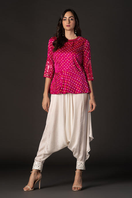 Bandhani Peplum Top with Mirrorwork