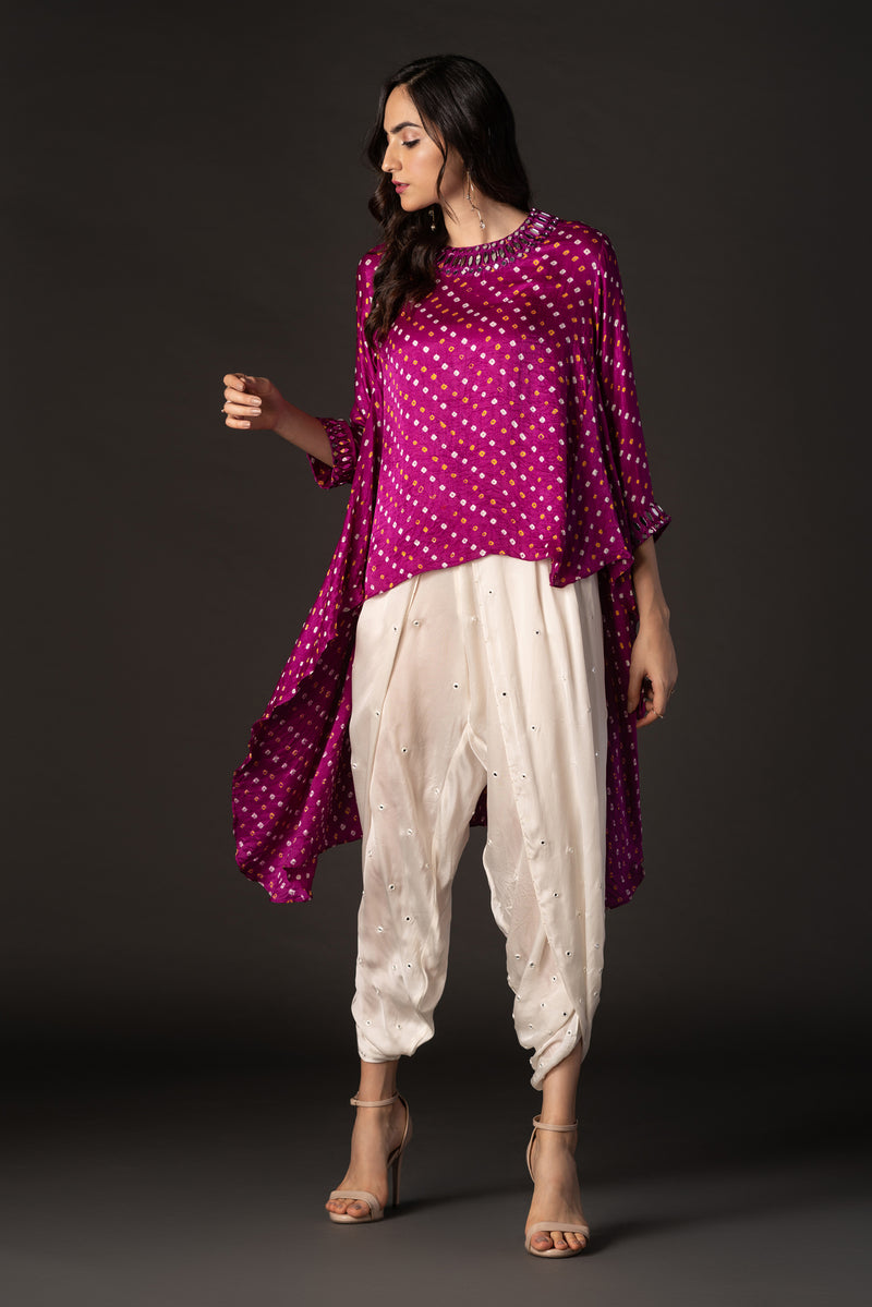 Bandhani Asymmetric Top with Mirror & Beadwork