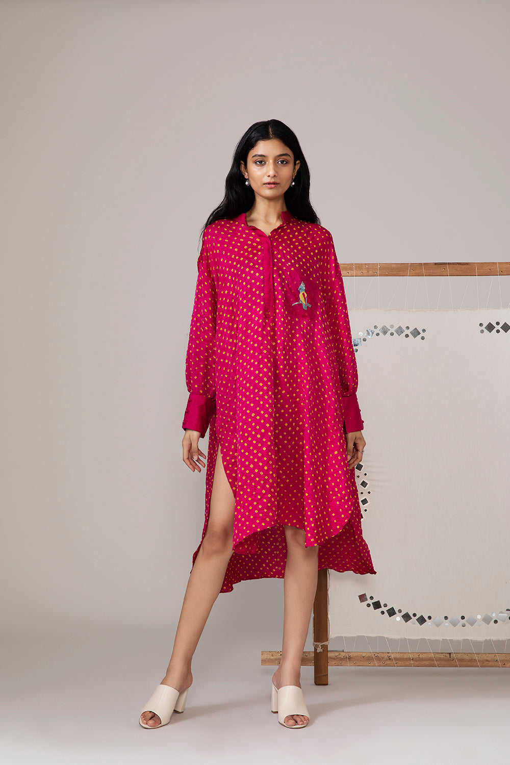Bandhani Oversize kurta shirt with Pocket