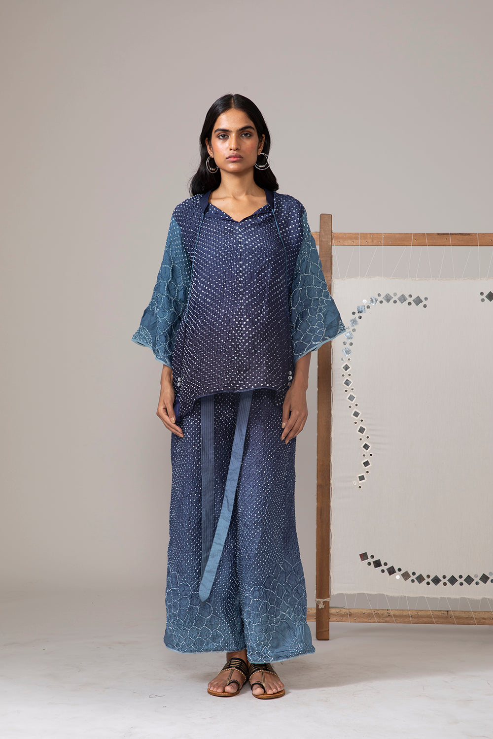 Kurta Top with Sunflower Flared Sleeves