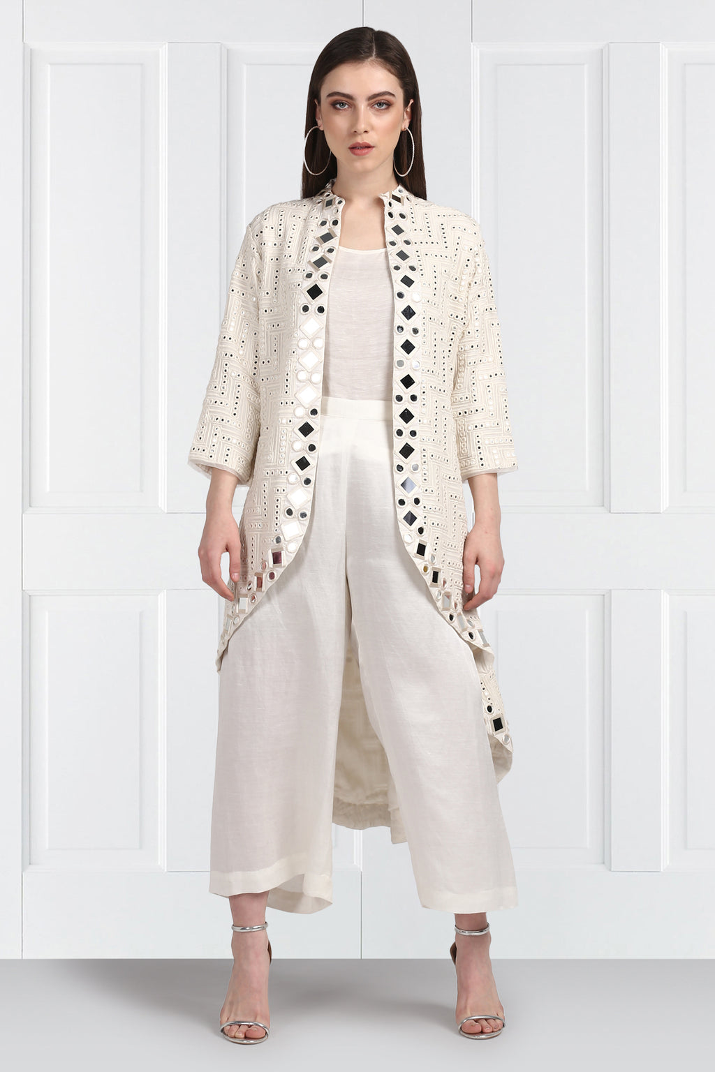 White Mirrorwork Long Asymmetrical  Jacket With Sleeves