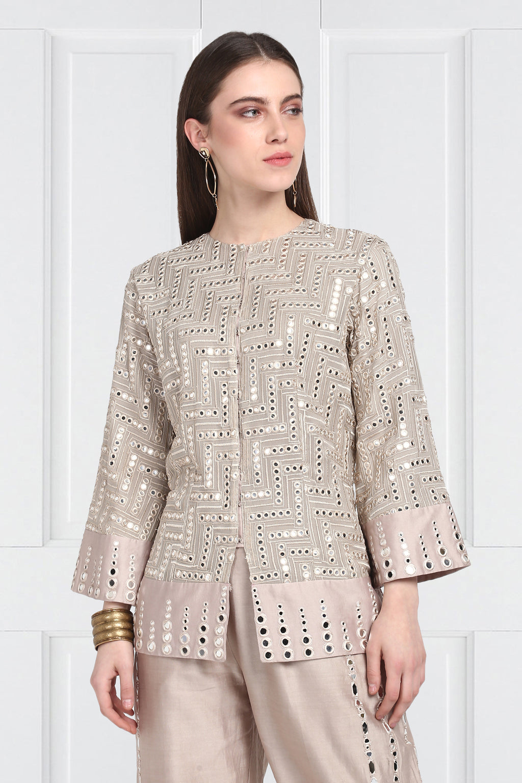 Taupe A-Line Mirrorwork Jacket