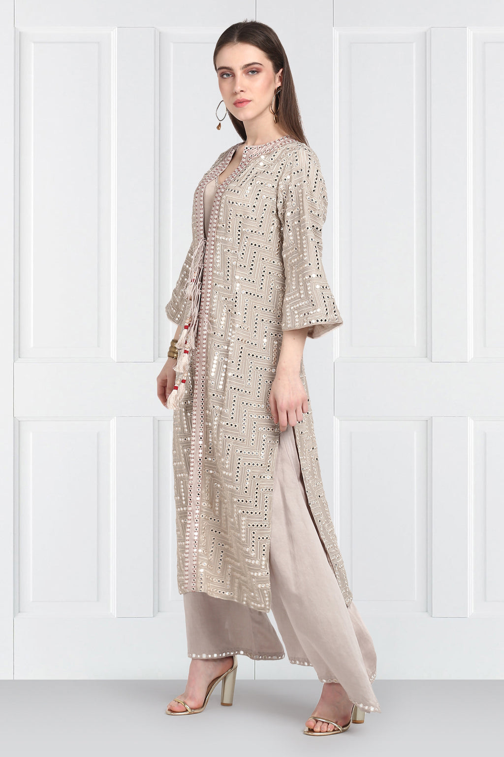 Grey Long Mirrorwork Overlay Bell Sleeves jacket with Tassles