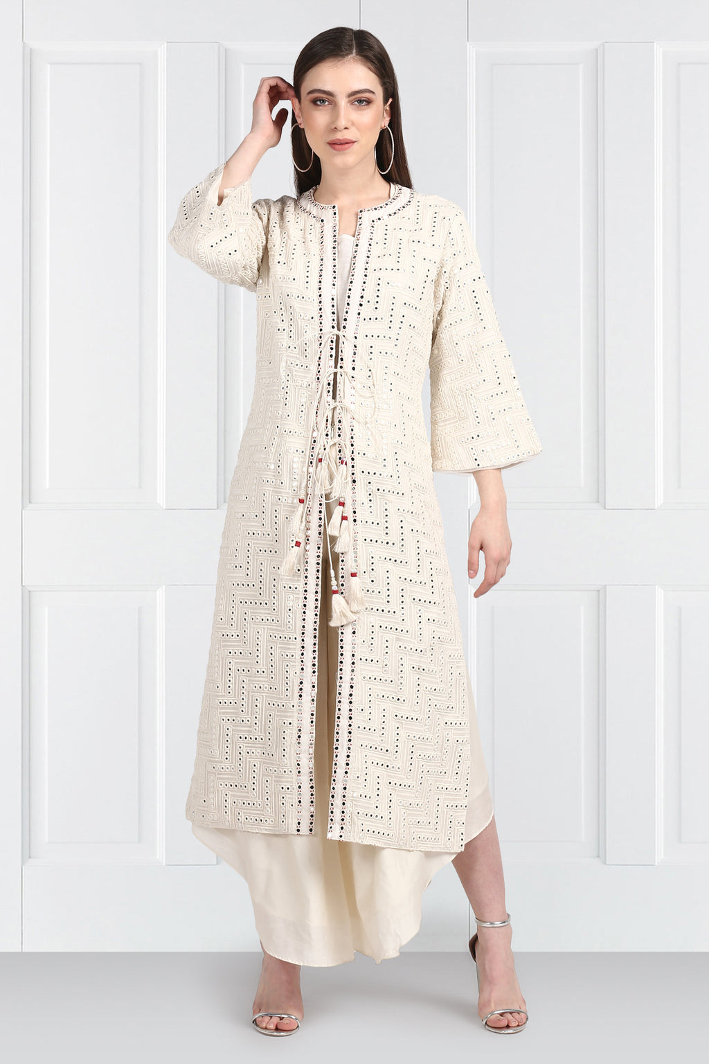 White Long Mirrorwork Overlay Bell Sleeves jacket with Tassles