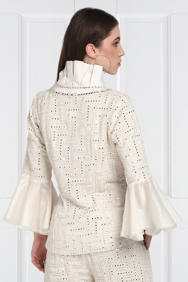 White Monarch Collared Mirrorwork Jacket with Flared Sleeves