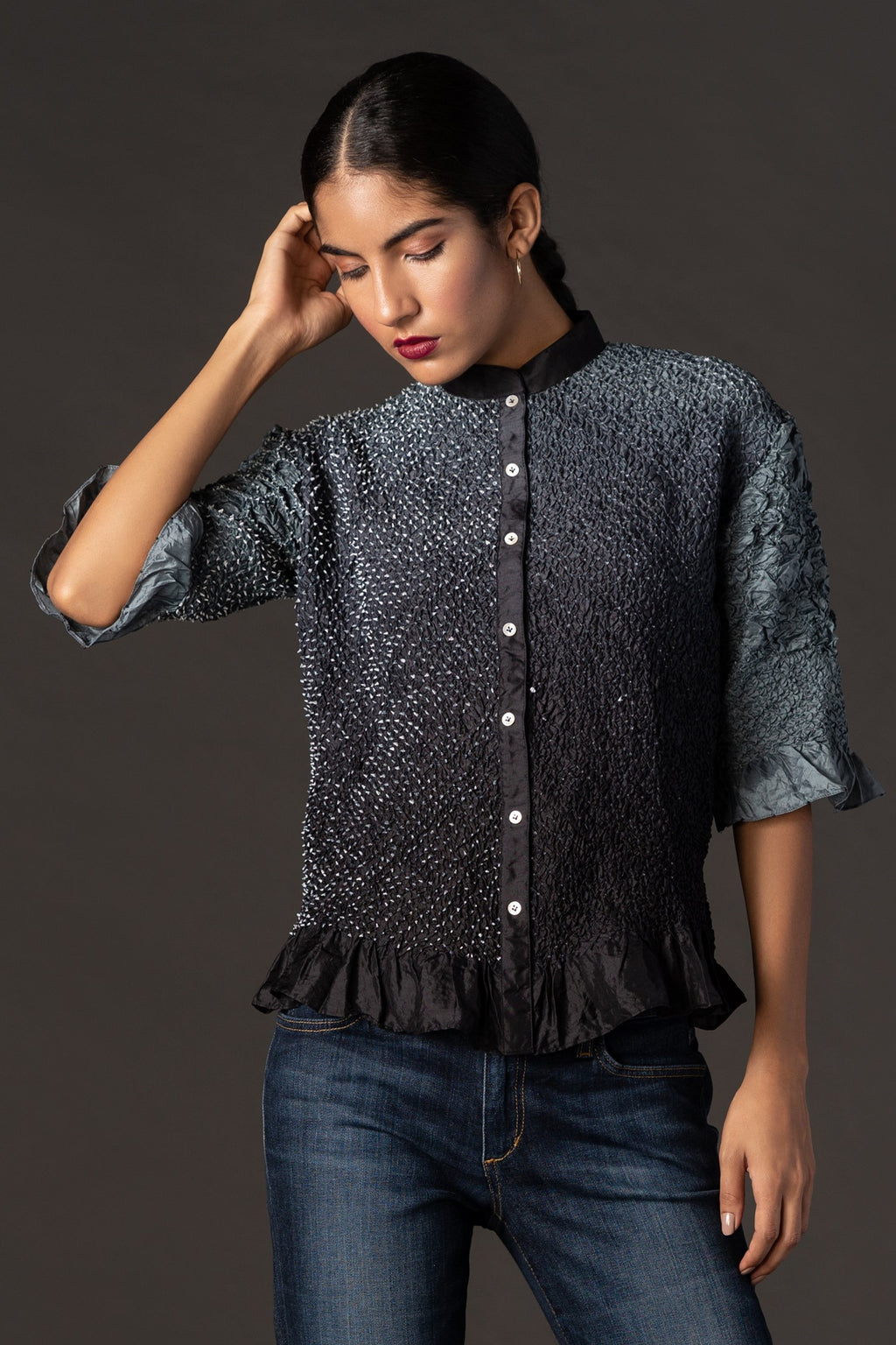 Crushed Bandhani Shirt
