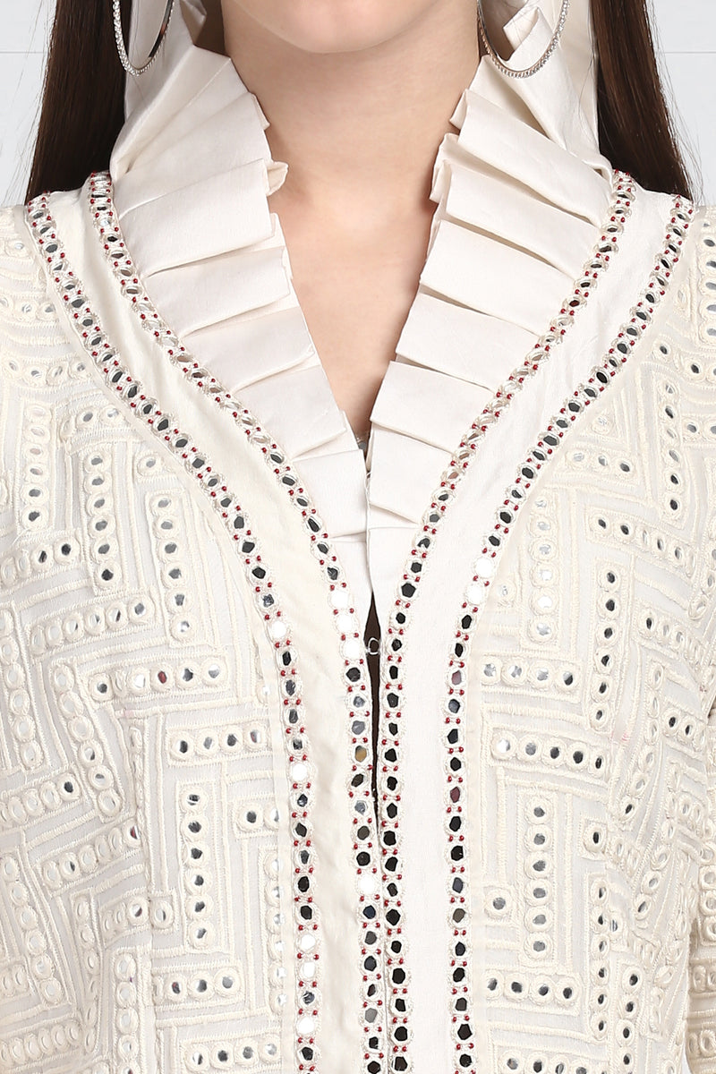 Monarch Collared Mirrorwork Jacket with Flared Sleeves