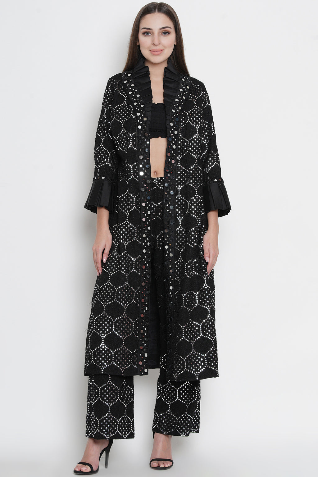 Black Mirrorwork Long Overlay Jacket with Monarch Collars