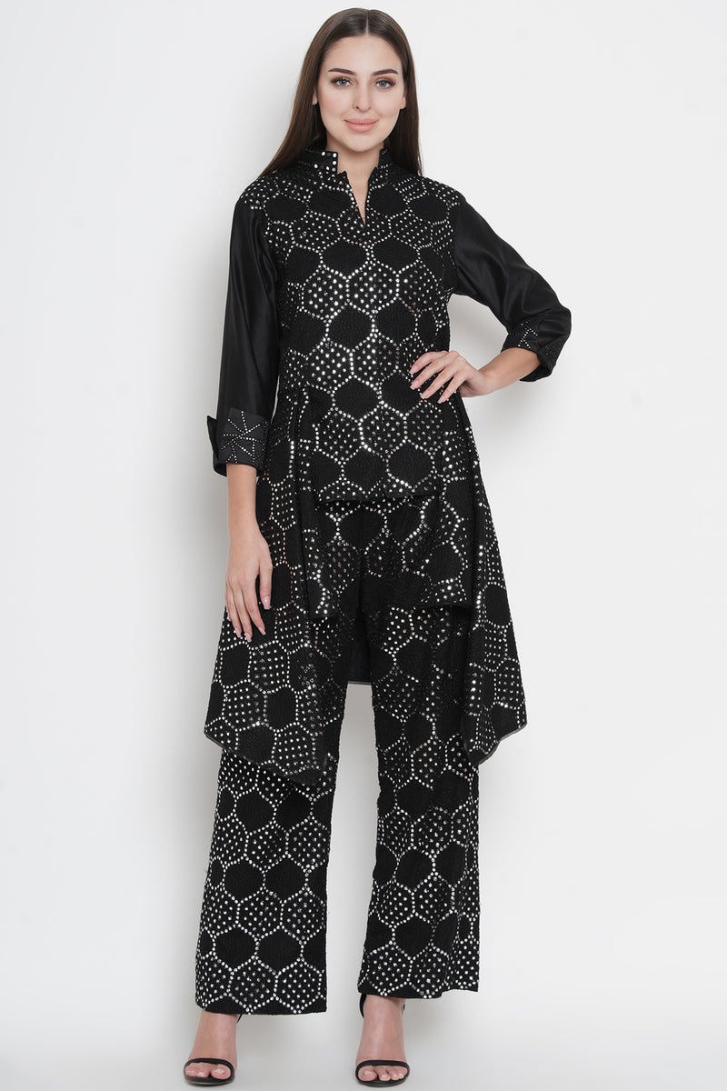Black Mirrorwork Asymmetric Layers Jacket