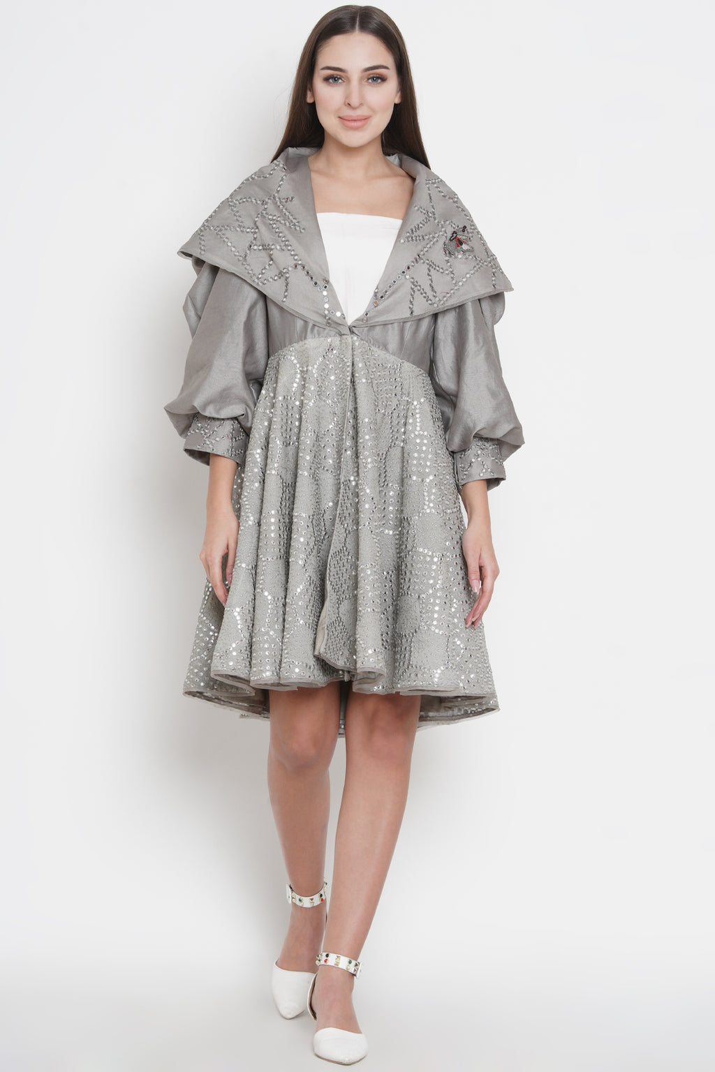 Grey Flap Collar Mirrorwork Jacket Dress