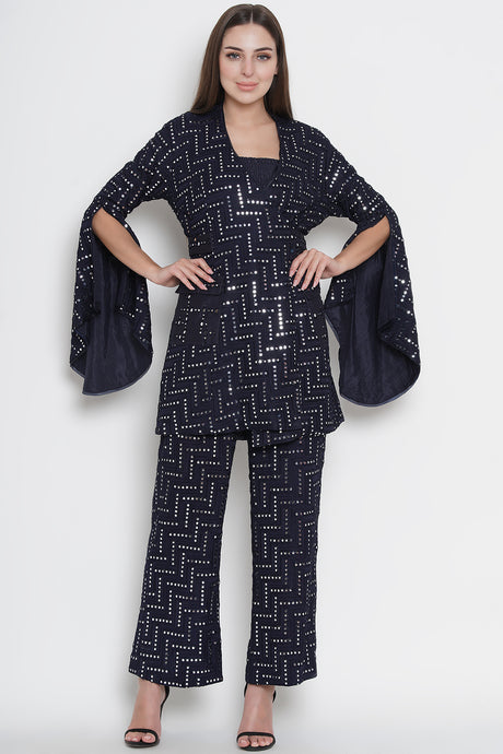 Navy Blue Mirrorwork Wrap Over Jacket with Belt and Pockets
