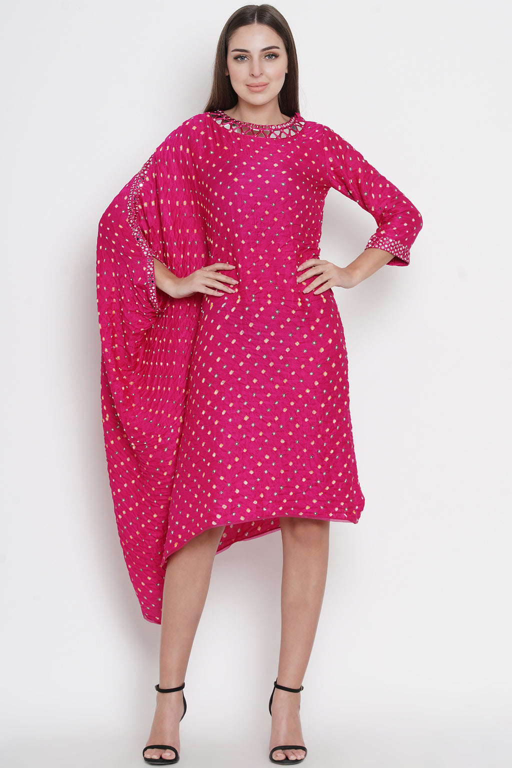 Pink Gajji Silk Bandhani one Sleeve Cape Tunic with Mirrorwork