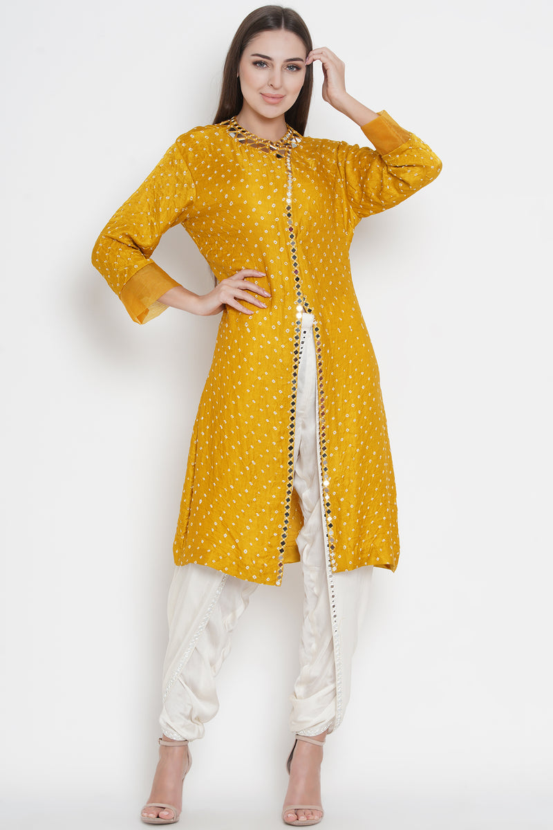 Yellow Gajji Silk Bandhani Wrap-over long Tunic with Mirrorwork
