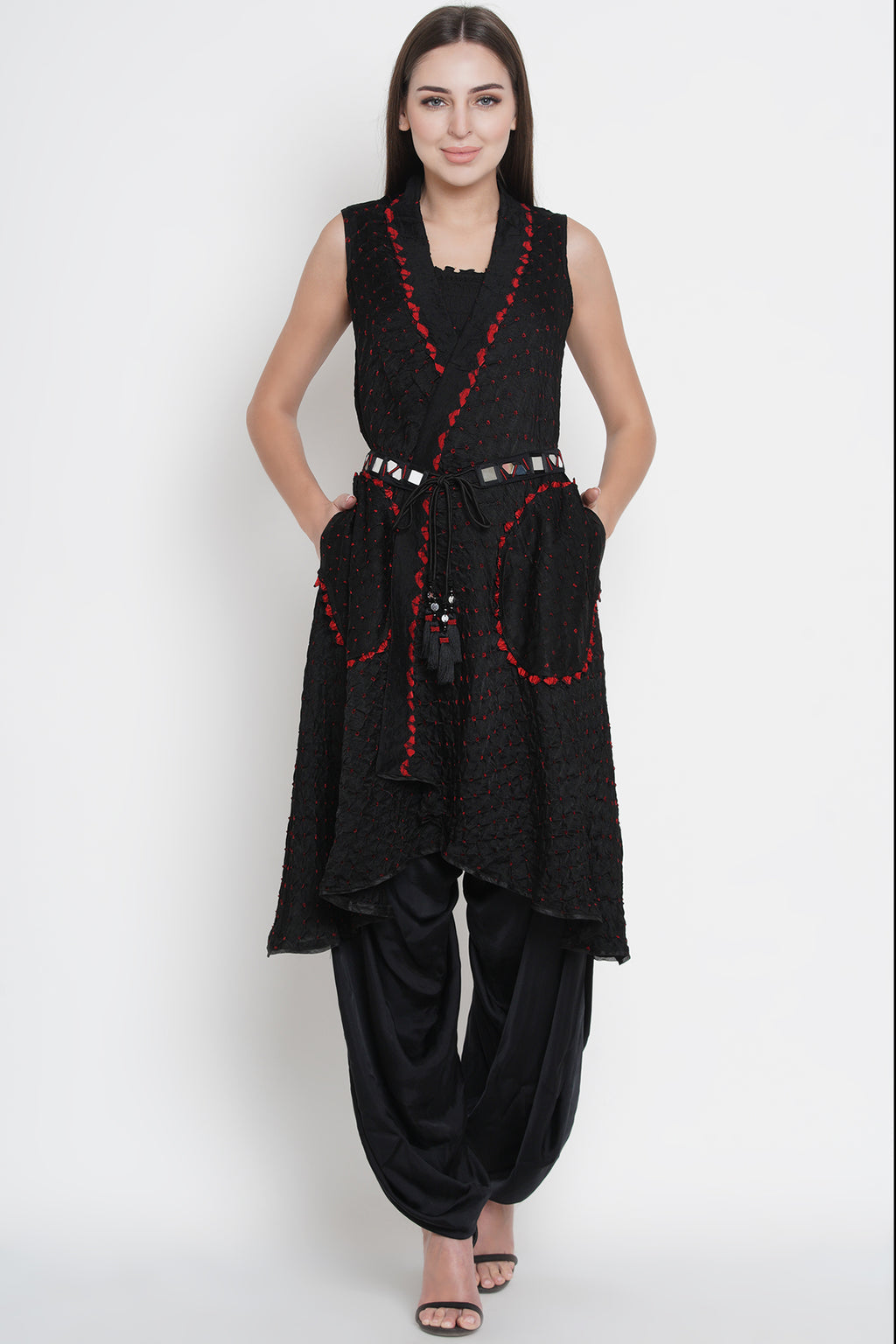 Black Gajji Silk Bandhani Asym Cape Jacket