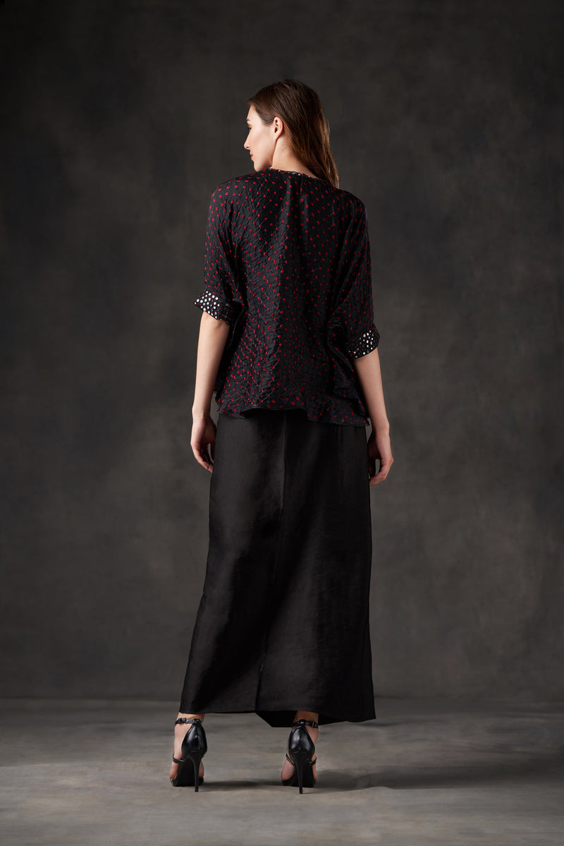Bandhani Cuff Sleeve Cape Top with Mirrorwork