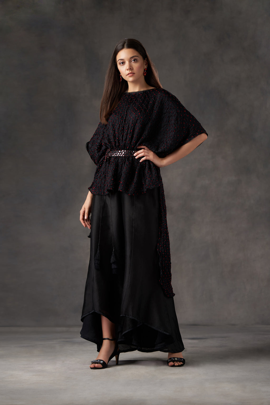 Bandhani Long and Short Top with Belt