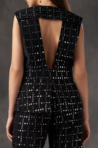 Black Mirror Fabric Backless Jacket with Mirror Tassles