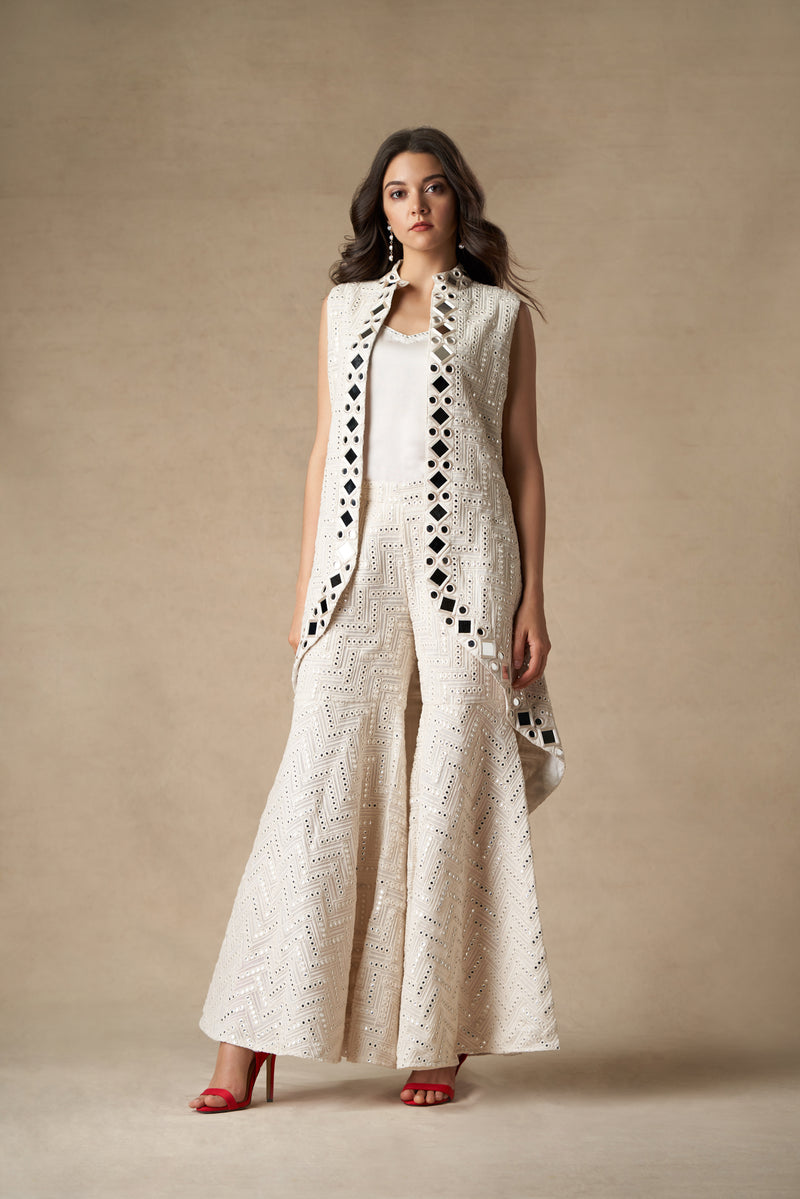 Long Asym Mirrorwork Open Sleeveless Jacket