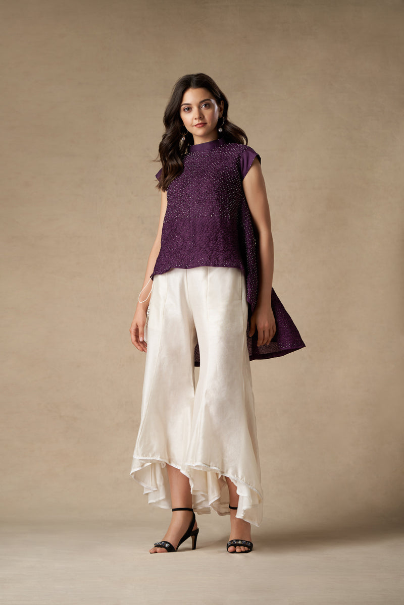 Crushed Bandhani Asym Top with High Neck & Short Sleeves