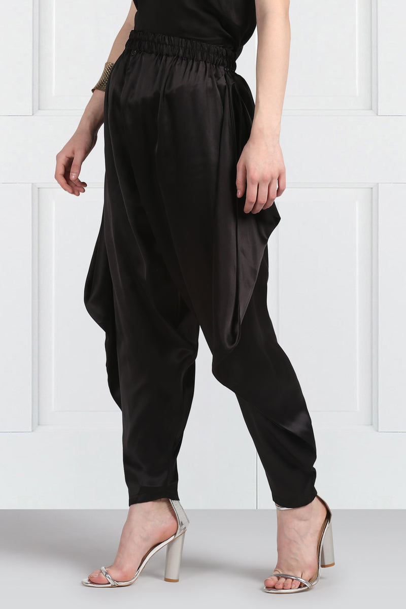 Black Adjustable Dhoti Pants