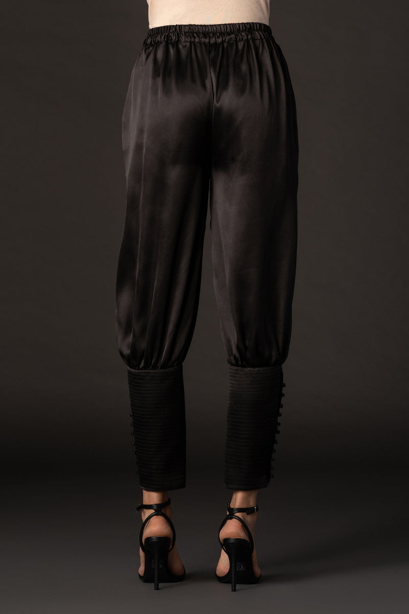 Black Satin Broad Poncho Breeches Pants