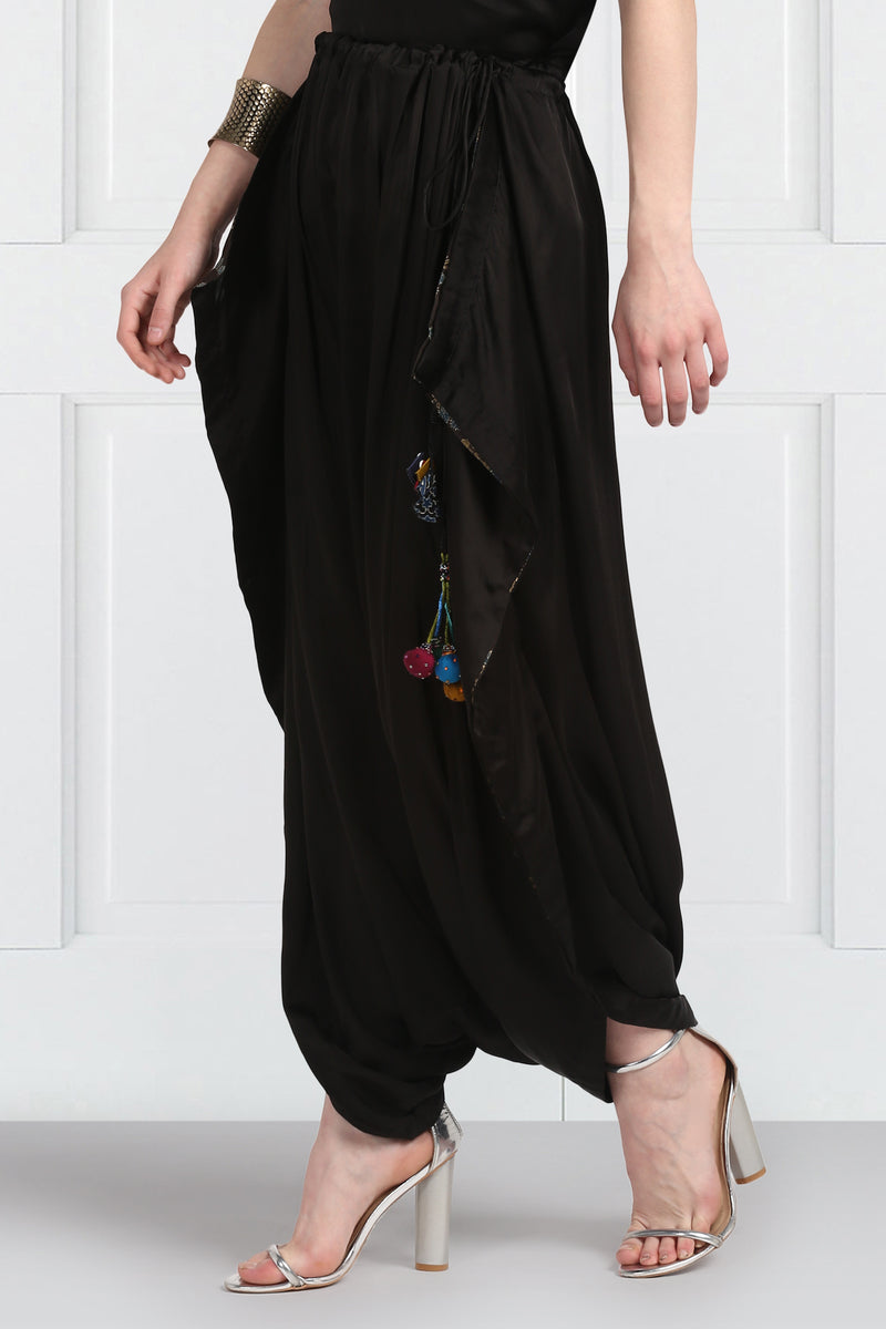 Black Modal Draw String Dhoti Pants