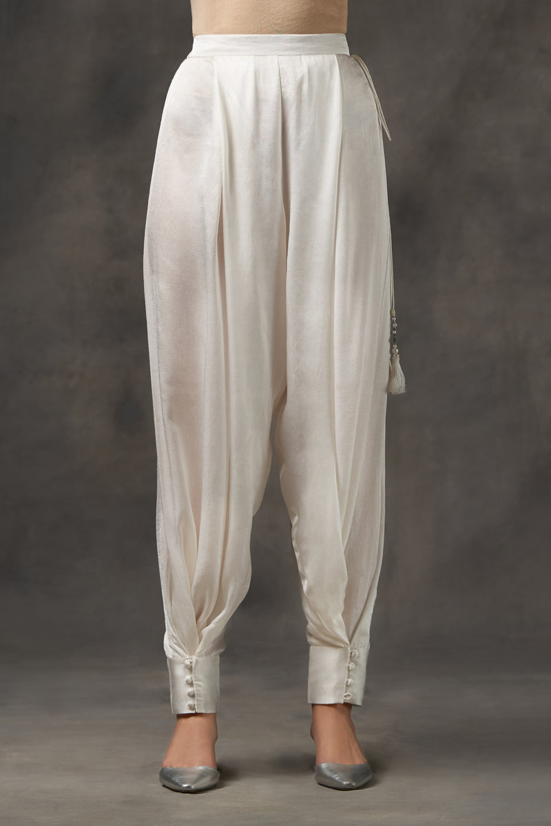 Modal satin box pleat dhoti pants