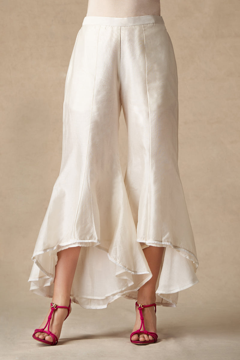 White Flared Tulip Pants