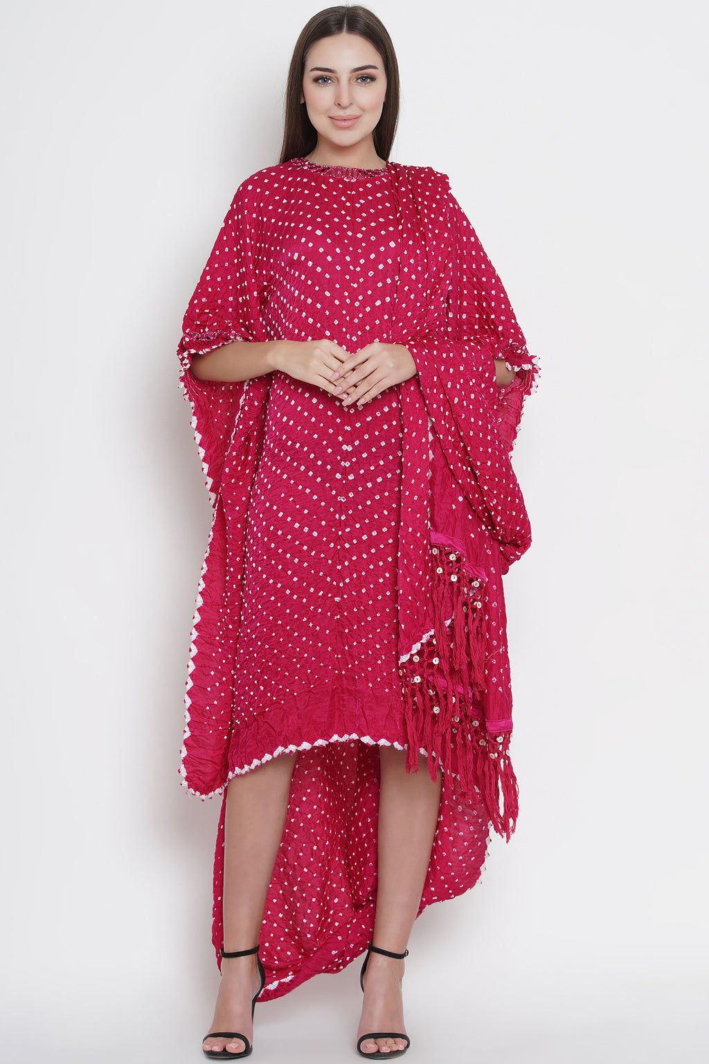 Boat Neck Mirrorwork Drape Tunic with Sleeves
