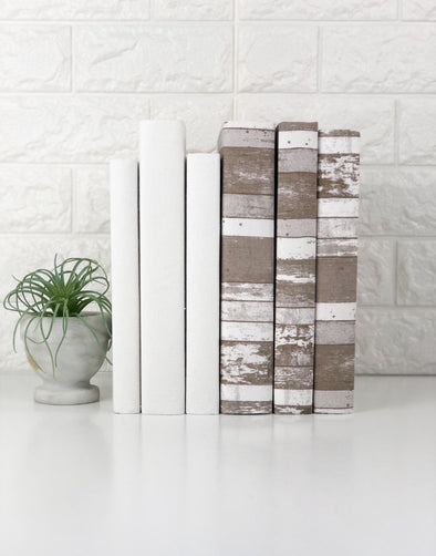 Beige Books by Color / Fabric Covered Books / Farmhouse Style