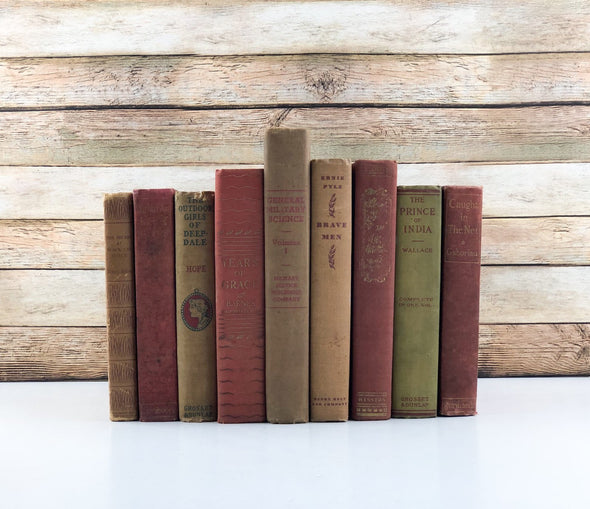 Red and Brown Book Decor
