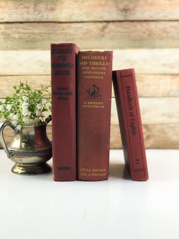 Red Decorative Book Set / Shelf Decor