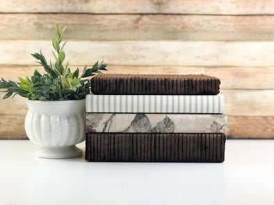 Brown Linen Covered Books / Neutral Home Decor