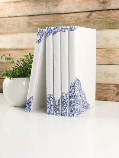 Blue Books for Shelf Decor / Fabric Covered