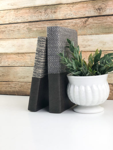 Linen Covered Books / Brown Modern Home Decor