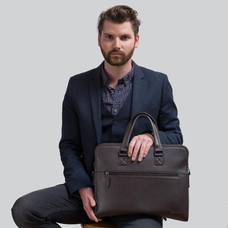 Monsieur Graham™ Men's Pebbled Briefcase