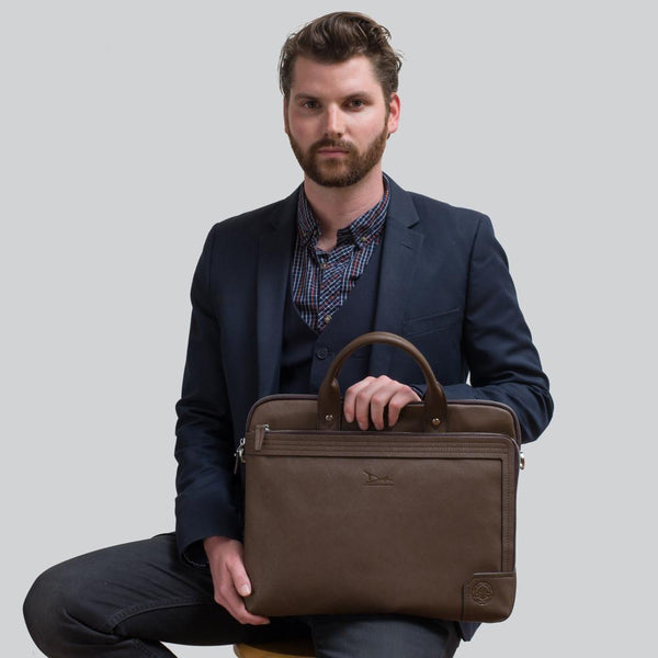 Perry™ Men's Midsize Crossgrain Briefcase Hand Bag