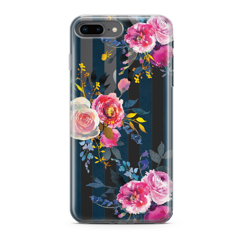 DELICATE PEONY FLOWER BLUE STRIPED - iPhone 7 Plus - Kim Concept | Show your Passion