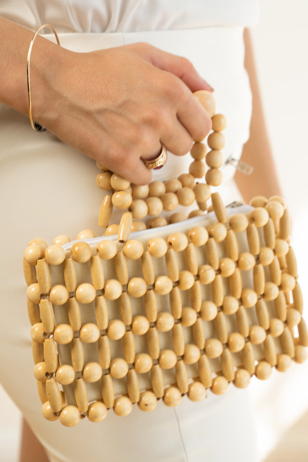 Wood 2 Beads In A Bag Satchel