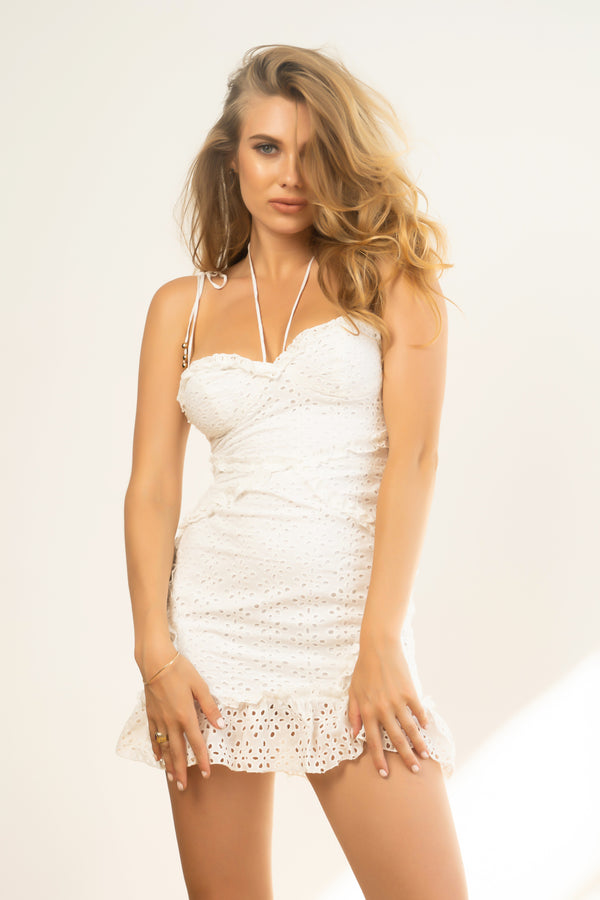 Crochet Cutie Mini Dress - White