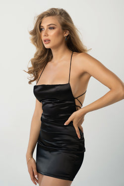 Here For You Satin Lace Up Mini Dress - Black