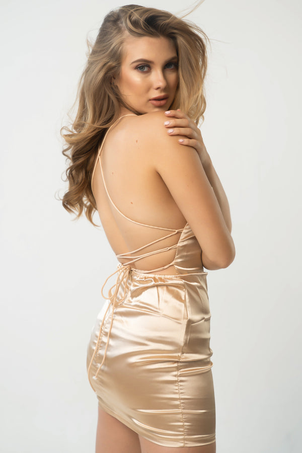 Here For You Satin Lace Up Mini Dress - Gold