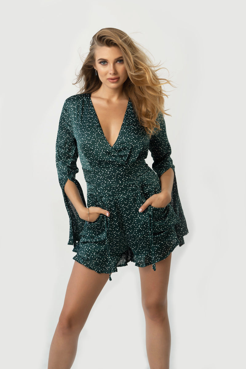 Please Don't Bother Flare Dress - Green