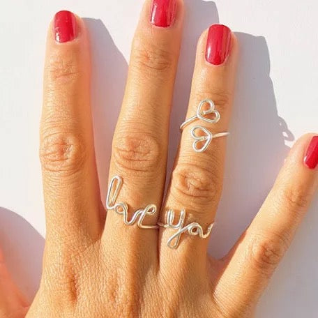 "Hand made ""Love You "" wire ring"