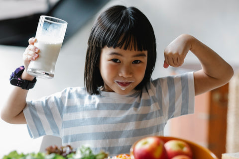 A girl with milk