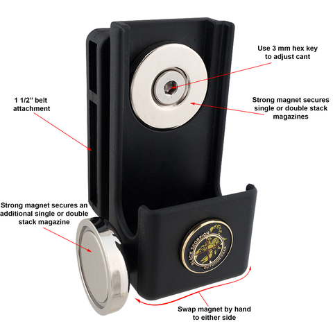 Black Scorpion Gear Single/Double Stack Double Magnetic Magazine Pouch Diagram