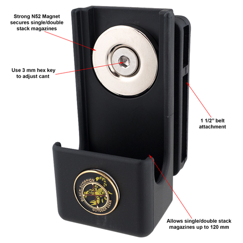 Black Scorpion Gear Single/Double Stack Magnetic Magazine Pouch Diagram