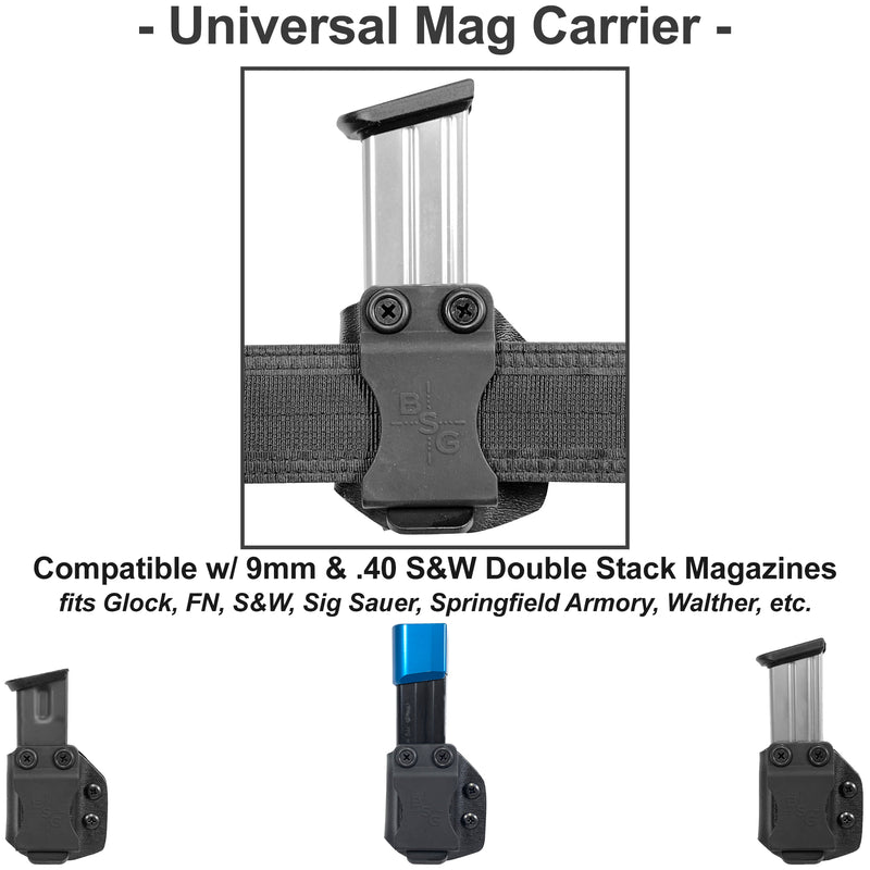 Universal Ambidextrous IWB Double Stack Magazine Carrier 9mm, .40S&W