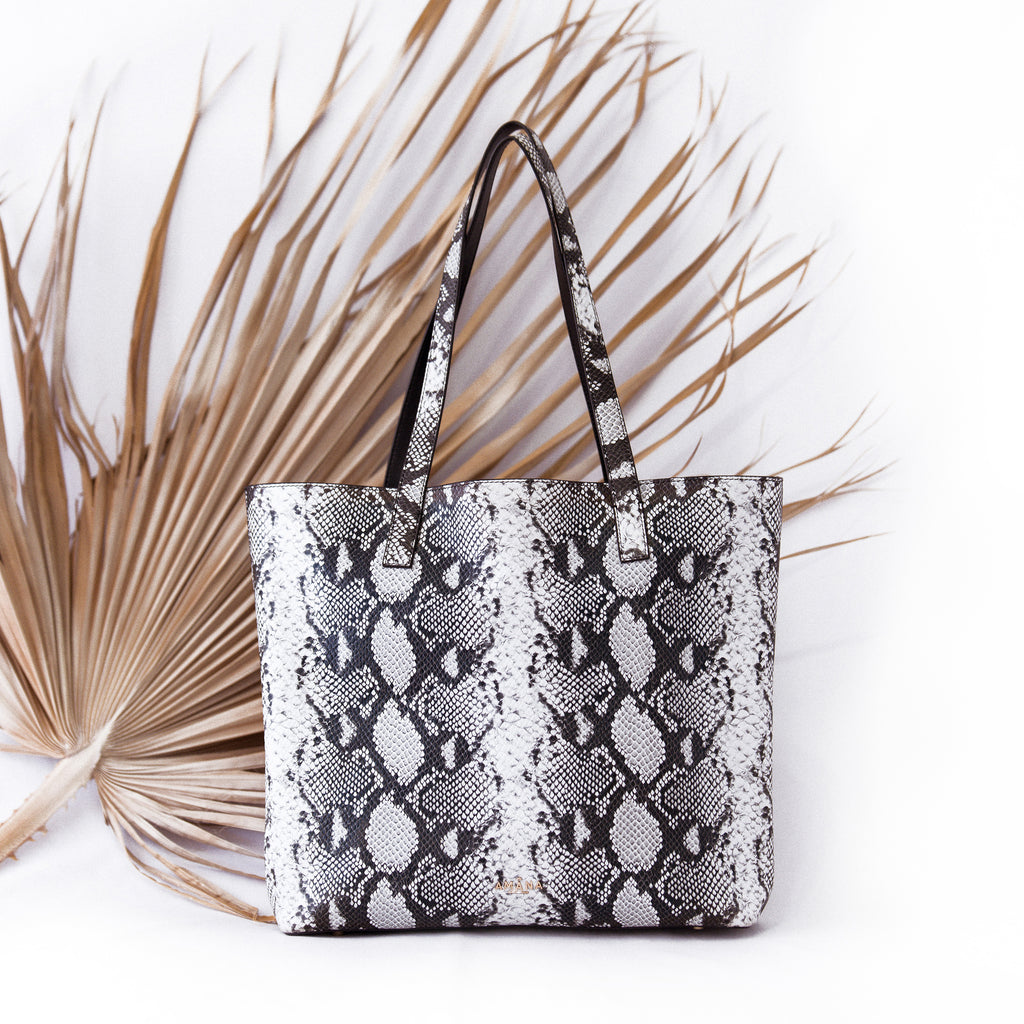 Genuine Leather Python Print Tote Bag